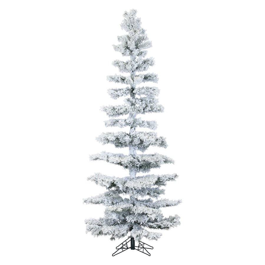 fraser hill farm 75 ft pre lit slim flocked artificial christmas tree with 350 - Pre Lit Slim Christmas Tree