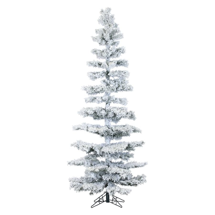 Fraser Hill Farm 7-ft 6-in Pre-Lit Slim Flocked Artificial Christmas Tree with 350 Multi-Function Multicolor LED Lights