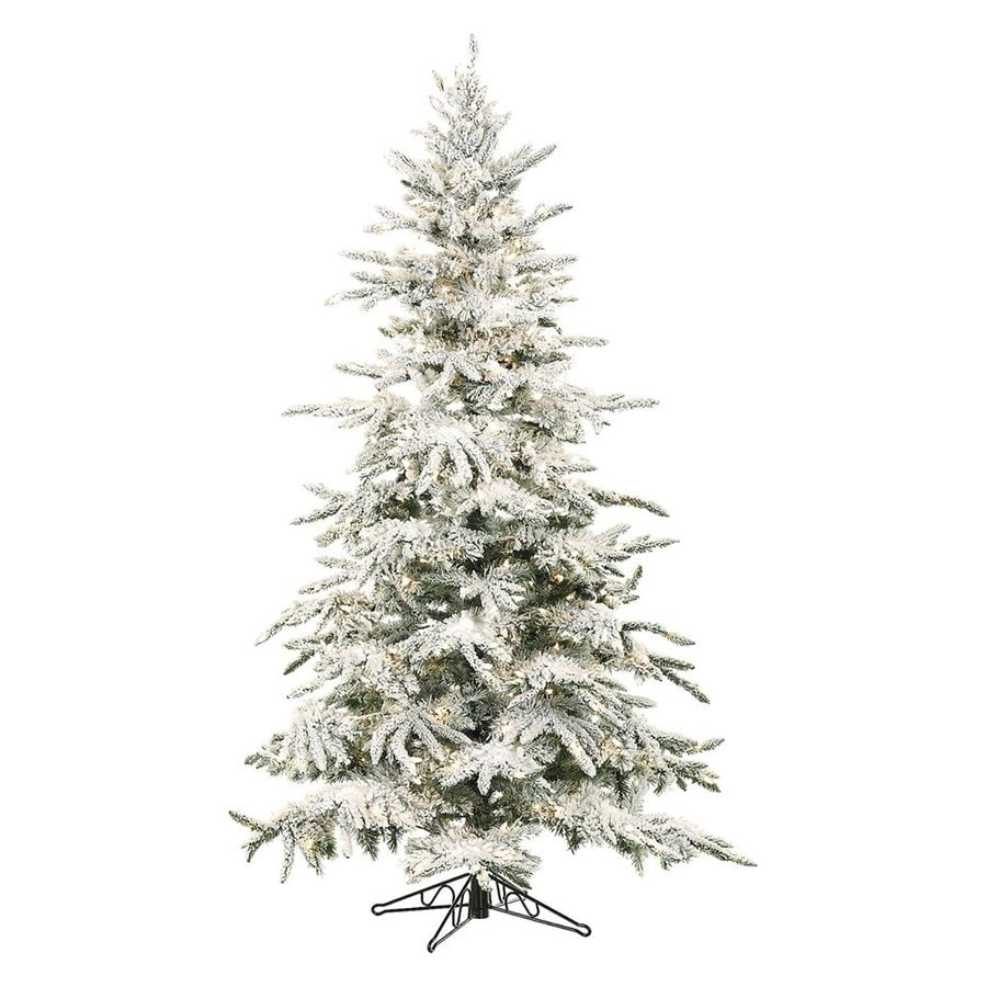 Fraser Hill Farm 7-ft 6-in Pre-Lit Mountain Pine Flocked Artificial Christmas Tree with 550 Multi-Function Multicolor LED Lights