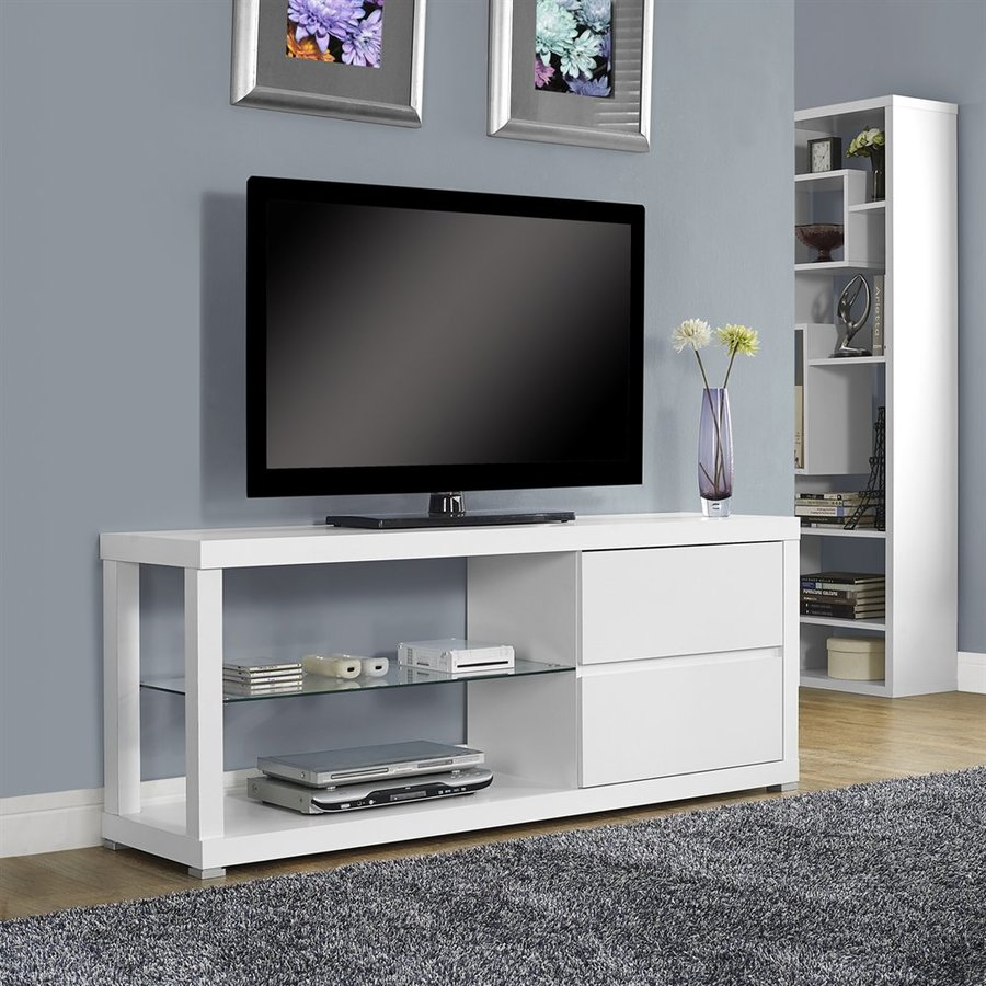 Monarch Specialties White Rectangular TV Cabinet
