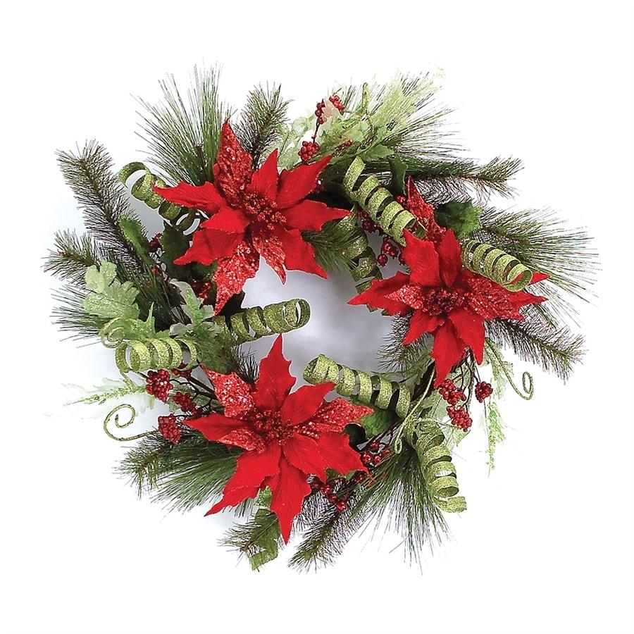 Melrose International 24-in Poinsettia Artificial Christmas Wreath