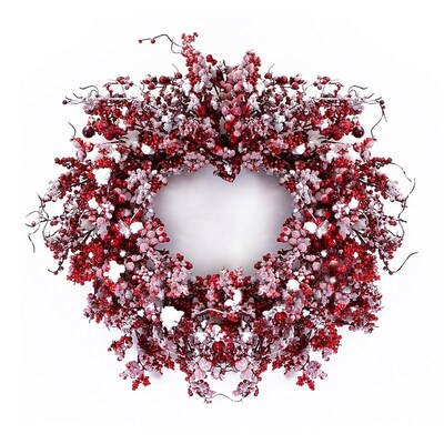 Red And White Christmas Wreath.24 In Red White Berry Artificial Christmas Wreath