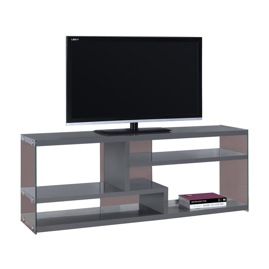 Monarch Specialties Glossy Grey Rectangular TV Cabinet