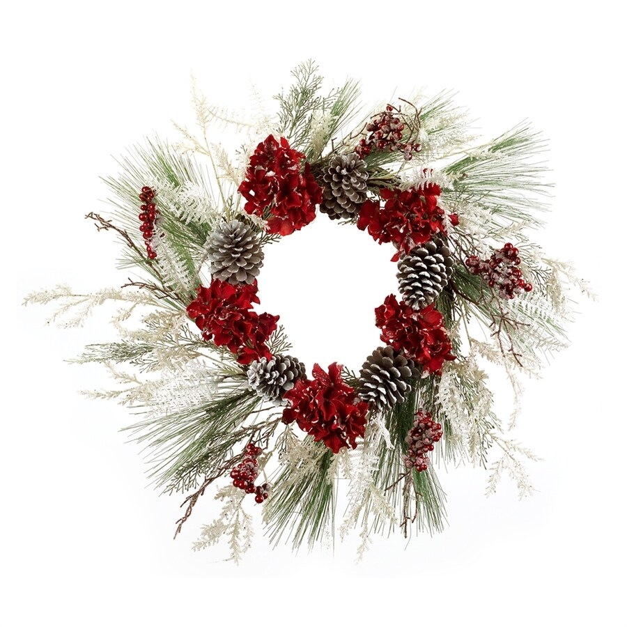 Melrose International 24-in Hydrangea Artificial Christmas Wreath
