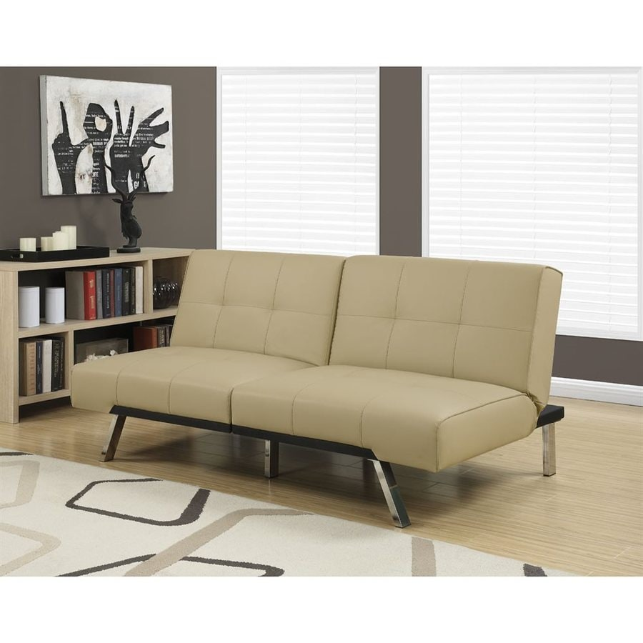 Monarch Specialties Taupe Faux Leather Futon