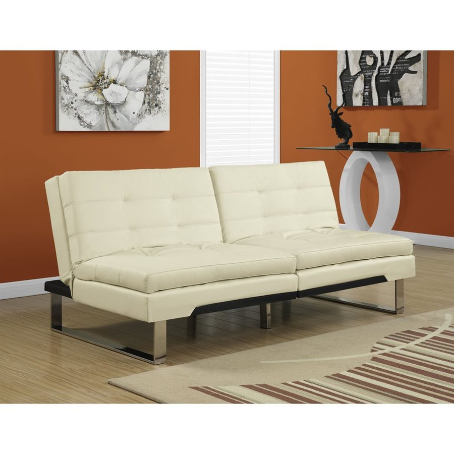 Monarch Specialties Ivory Faux Leather Futon