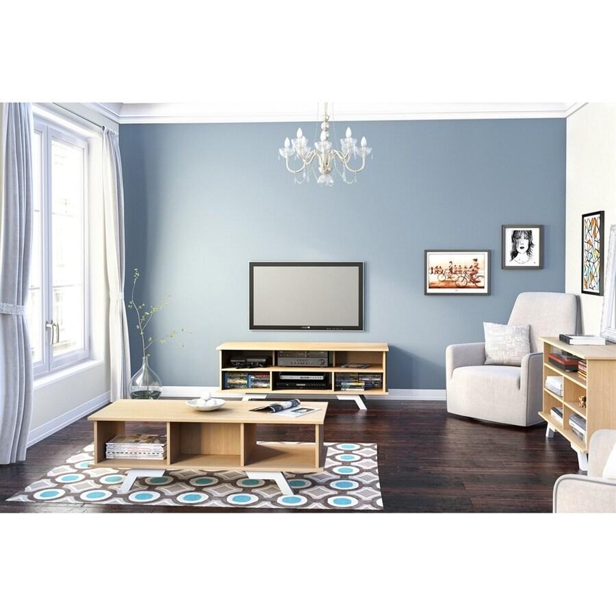 Nexera Stiletto Natural Maple/White Rectangular TV Cabinet
