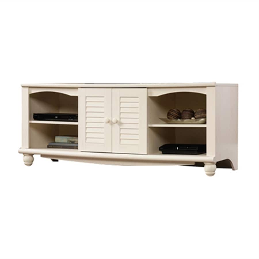 Sauder Harbor View Antiqued White Rectangular TV Cabinet