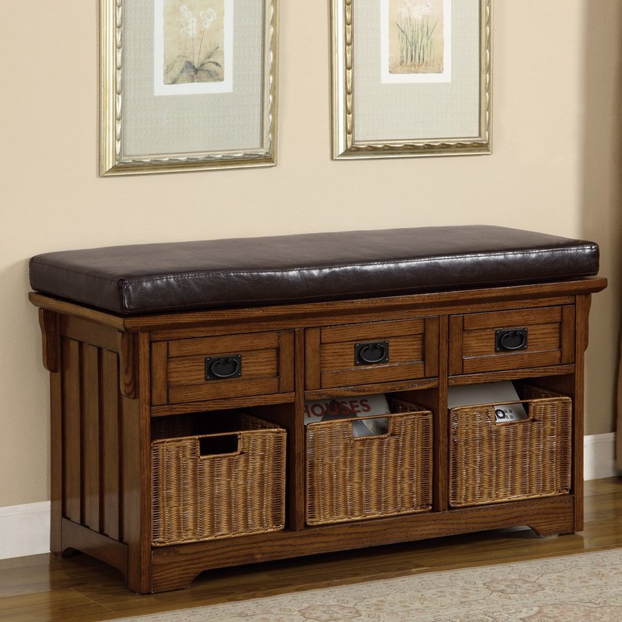 Coaster Fine Furniture Traditional Medium Brown Storage Bench