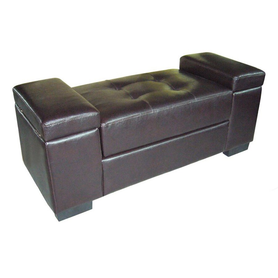 ORE International Transitional Dark Brown Storage Bench