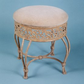 hillsdale furniture 185in h antique beigefawn round makeup vanity stool