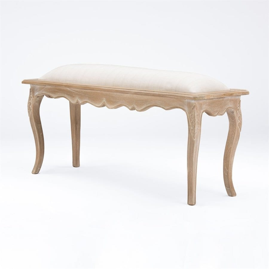 Baxton Studio Beuvron Traditional Light Beige/Distressed Antique Accent Bench