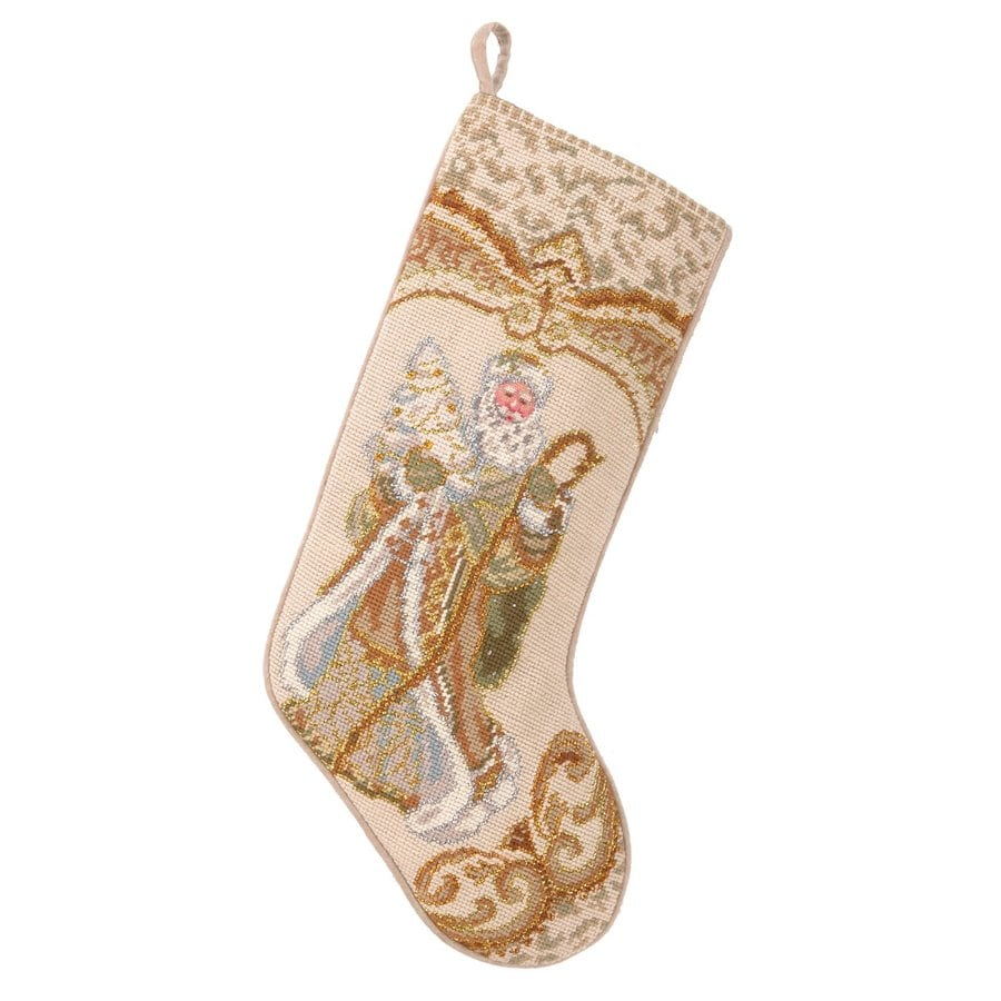 Peking Handicraft 11-in Off-white Santa Christmas Stocking