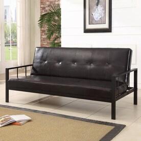 kb furniture klik klak brown vinyl futon shop futons  u0026 sofa beds at lowes    rh   lowes
