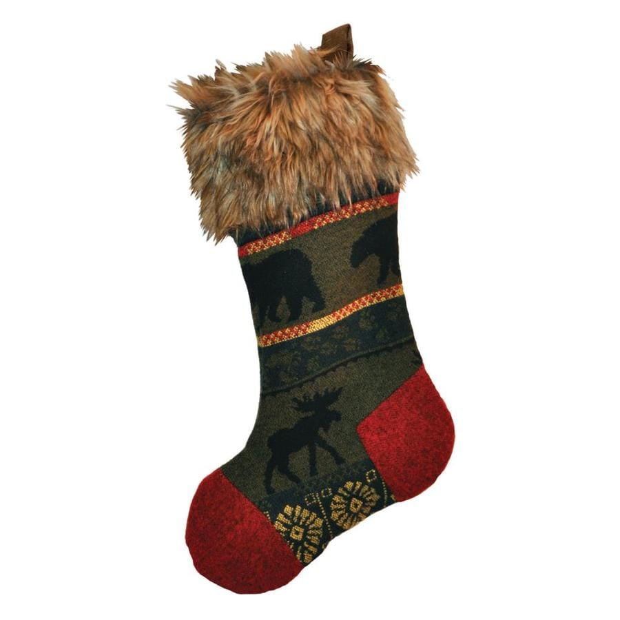 Wooded River 20-in Green Animals Christmas Stocking