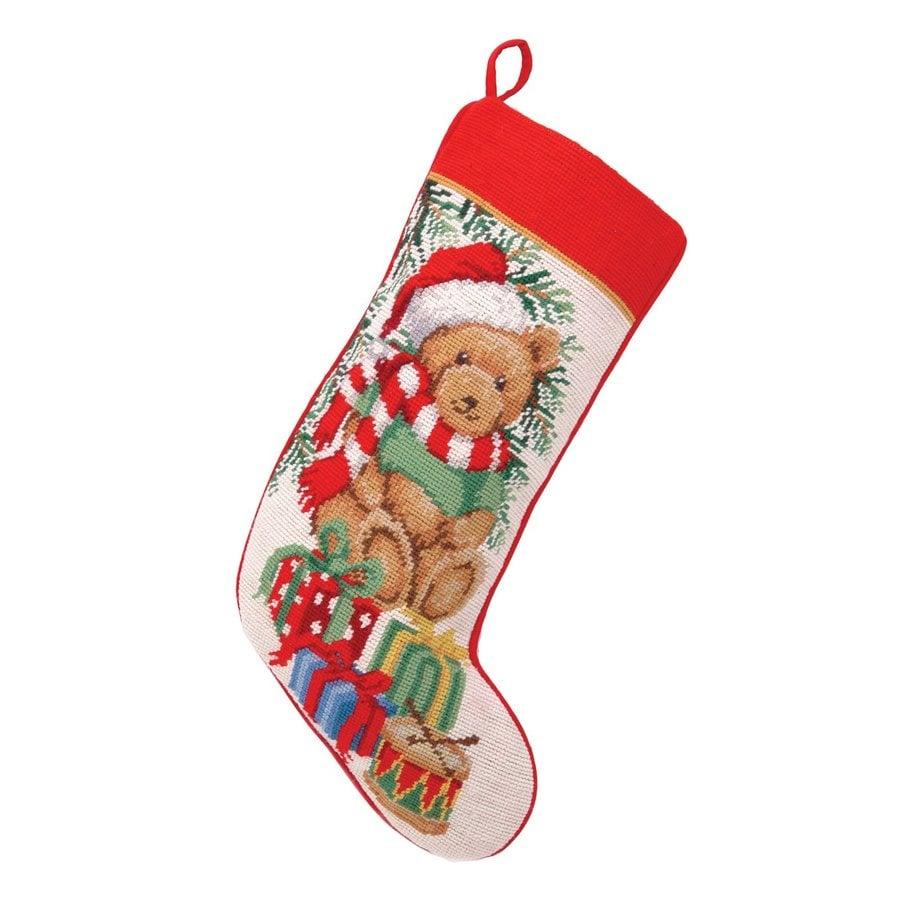 Peking Handicraft 11-in Red Animals Christmas Stocking