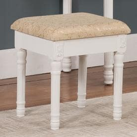 KB Furniture 18 In H White/Ivory Rectangular Makeup Vanity Stool