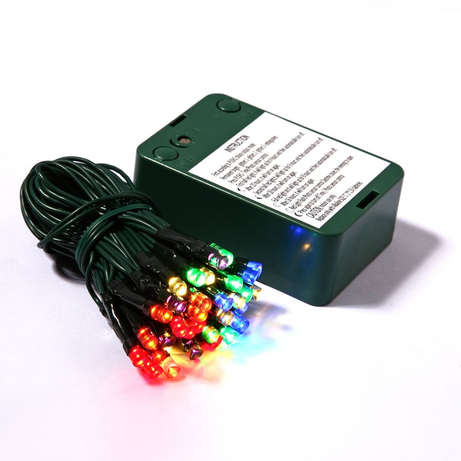 Vickerman 50-Count Constant  Multicolor Wide Angle LED Battery-operated Indoor Christmas String Lights Timer
