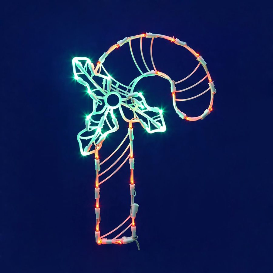 Vickerman 1.41-ft Hanging Candy Cane Window Cling Multicolor LED Lights