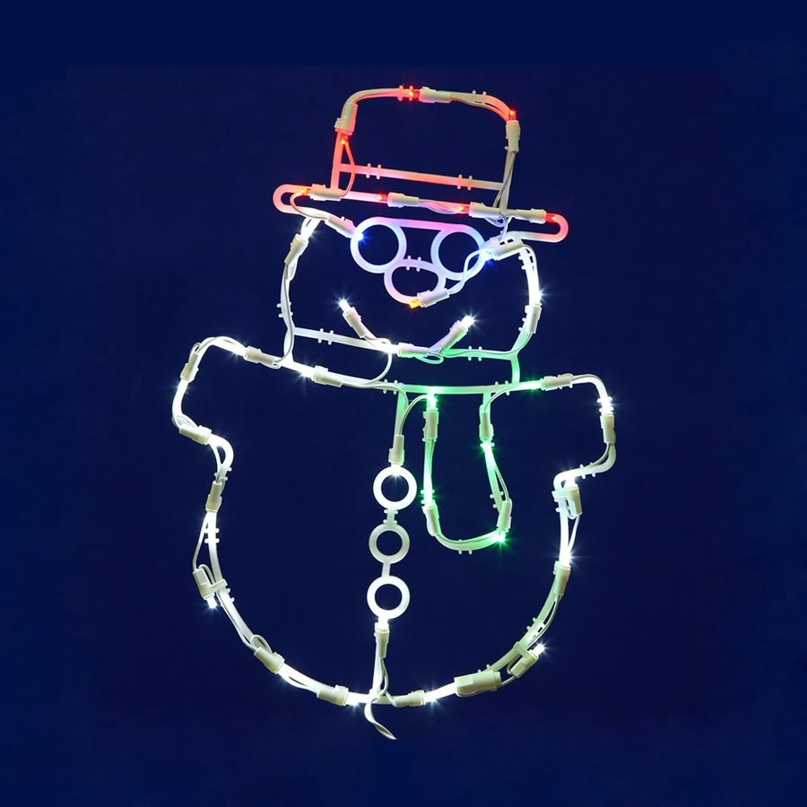 Vickerman 1.41-ft Hanging Snowman Window Cling Multicolor LED Lights