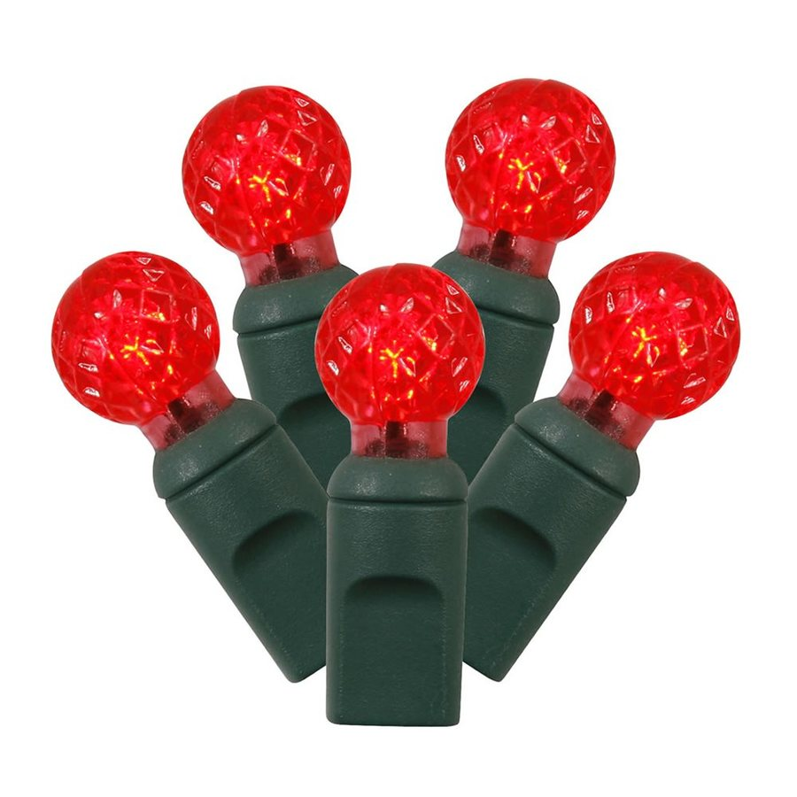 Vickerman 50-Count Constant  Red Globe LED Plug-In Indoor/Outdoor Christmas String Lights