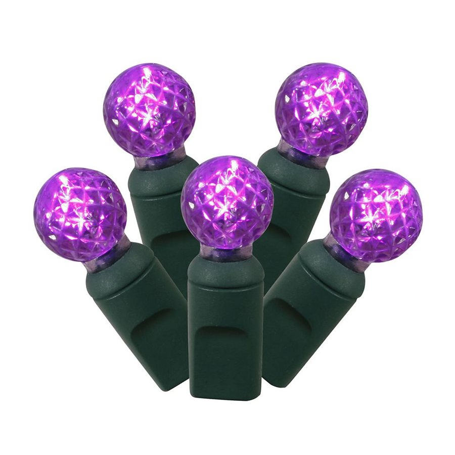 Vickerman 50-Count Constant  Purple Globe LED Plug-In Indoor/Outdoor Christmas String Lights