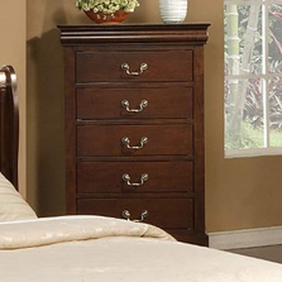 Alpine Furniture West Haven Cappuccino Asian Hardwood 5-Drawer Chest
