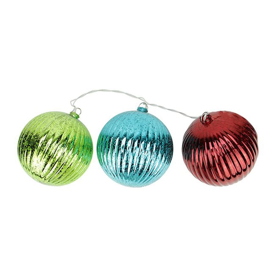Northlight Multicolor Ribbed Ball Ornament Set with White Lights