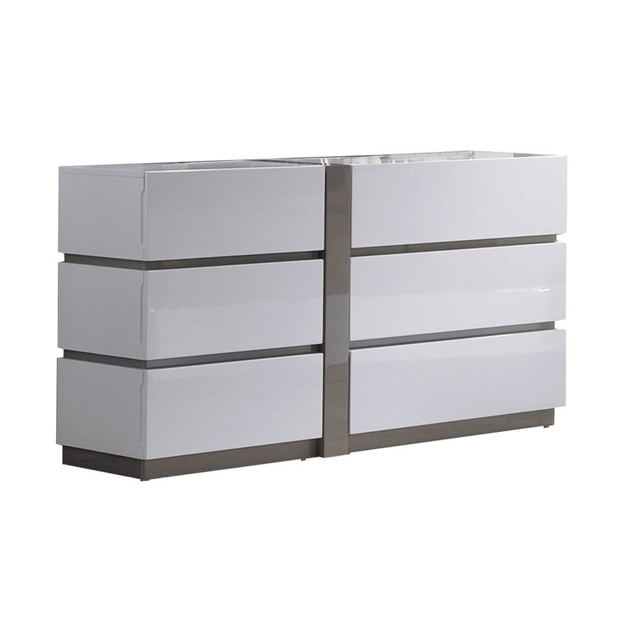Chintaly Imports Manila Gloss White/Grey 6-Drawer Double Dresser