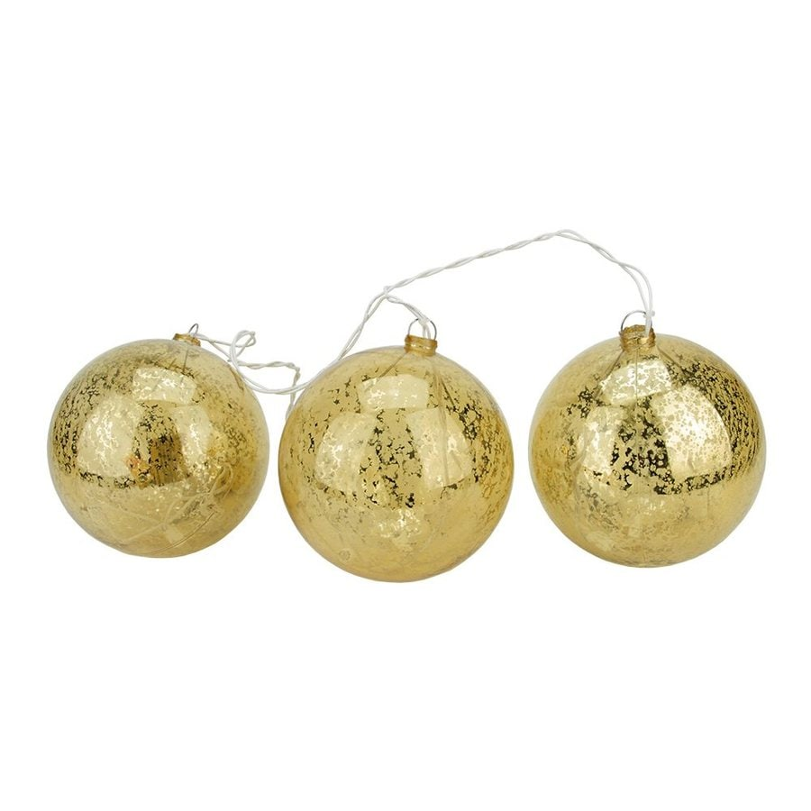 Northlight Gold Mercury Glass Ball Ornament Set with White Lights