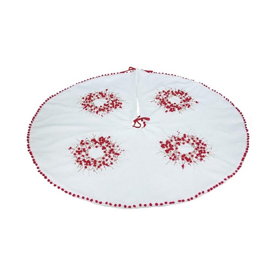 XIA Home Fashions 48-in White Cotton Berries Christmas Tree Skirt