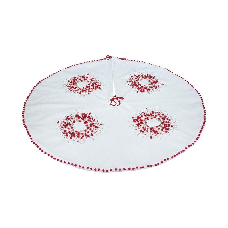 XIA Home Fashions 60-in White Cotton Berries Christmas Tree Skirt