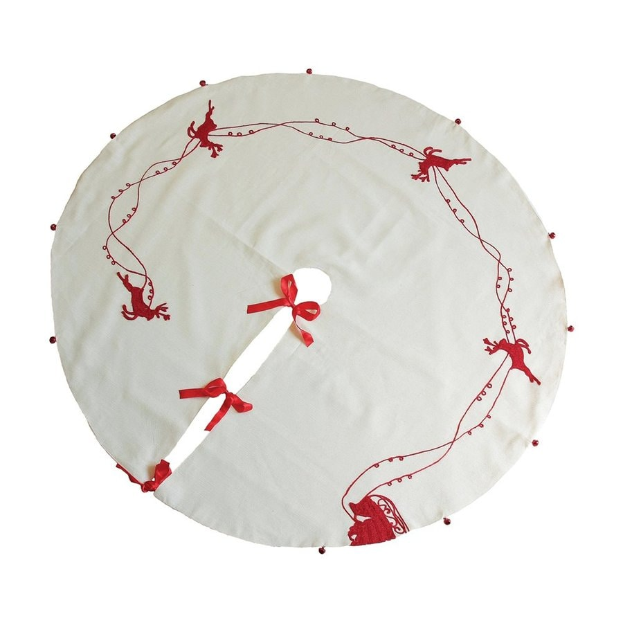 XIA Home Fashions 60-in White Polyester Christmas Tree Skirt