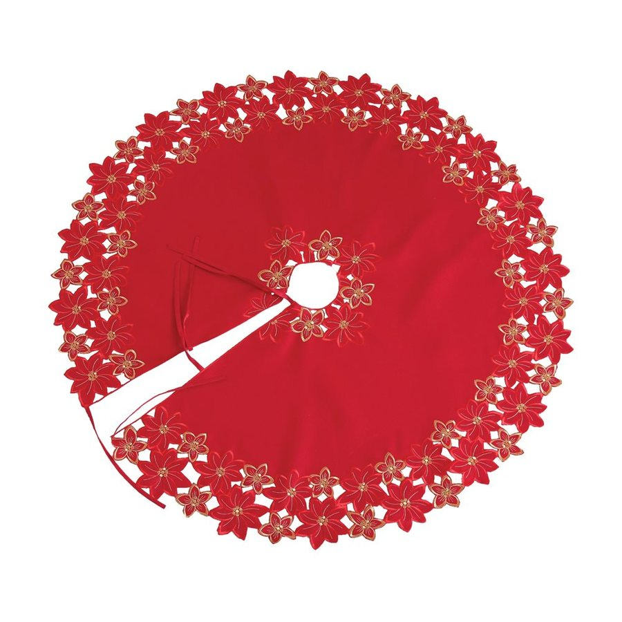XIA Home Fashions 48-in Red Polyviscose Poinsettia Christmas Tree Skirt