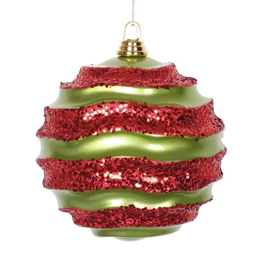 Vickerman Lime/Red Ball Ornament