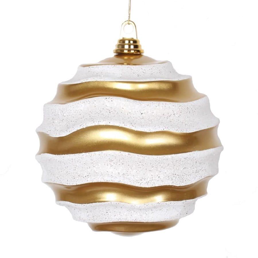 Vickerman Gold/White Ball Ornament