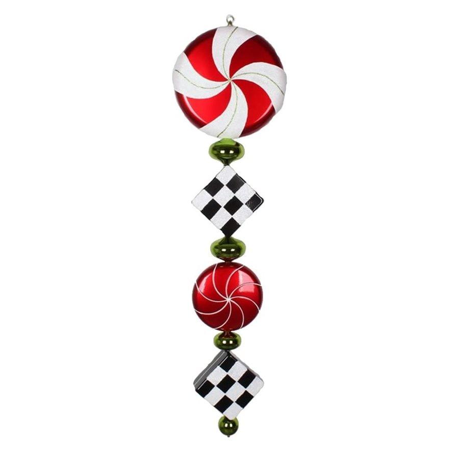 Vickerman Red/White/Black Ornament