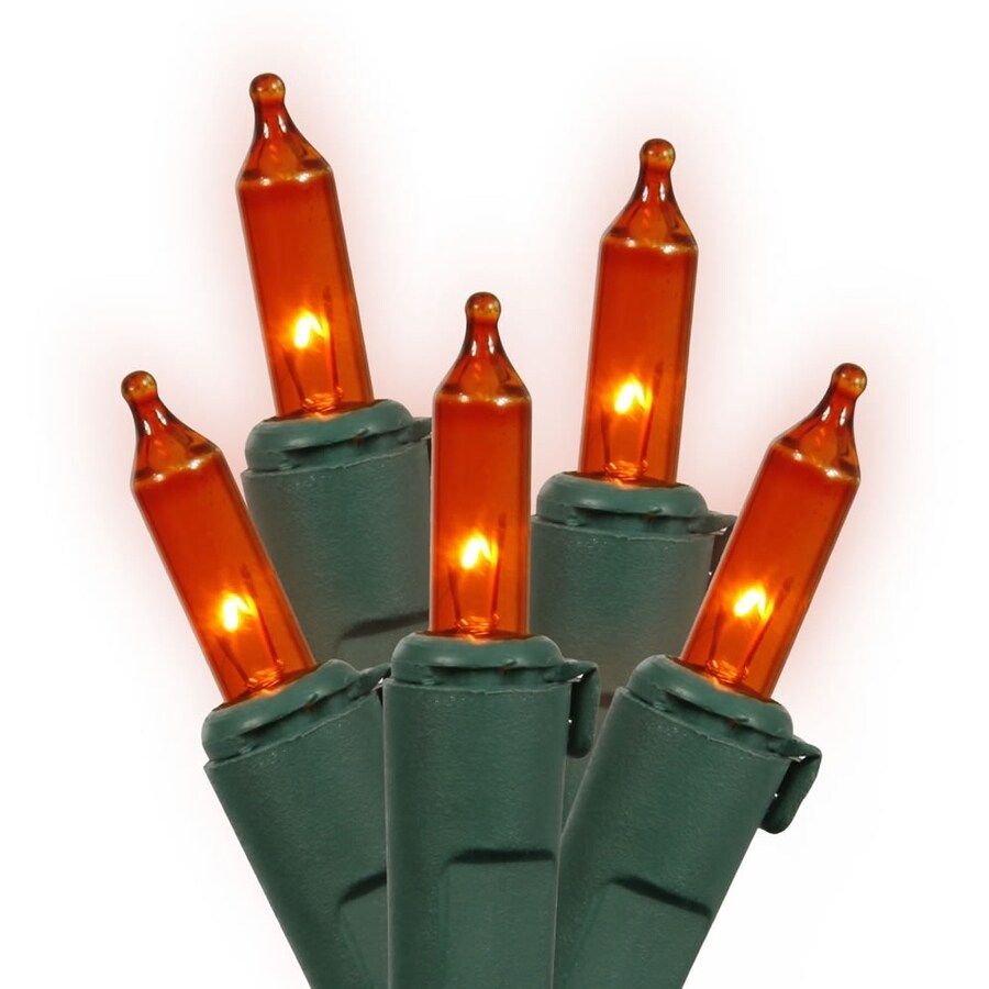 Vickerman 100-Count Constant  Orange Mini Incandescent Plug-In Indoor/Outdoor Christmas String Lights