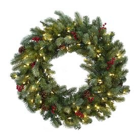 nearly natural 30 in pre lit indoor green pine artificial christmas wreath with clear - Christmas Wreaths With Lights