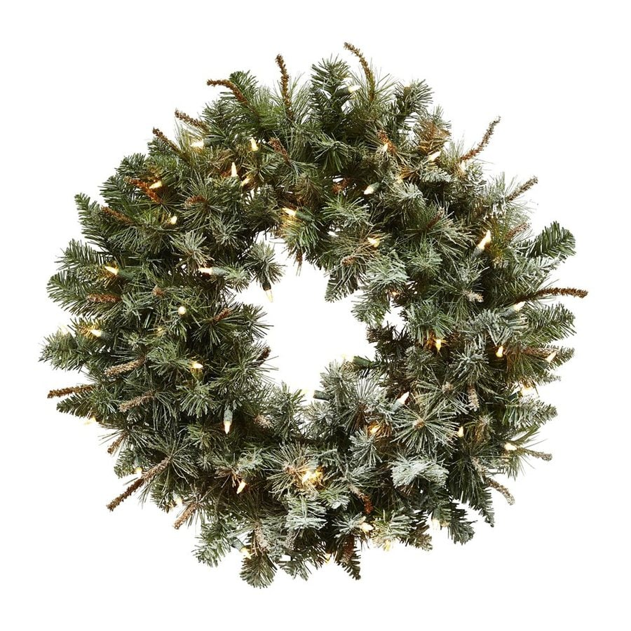 Nearly Natural 30-in Pre-lit Indoor Green Pine Artificial Christmas Wreath with Clear White Lights
