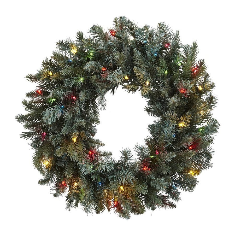 Nearly Natural 30-in Pre-lit Indoor Green Pine Artificial Christmas Wreath with Multicolor Lights