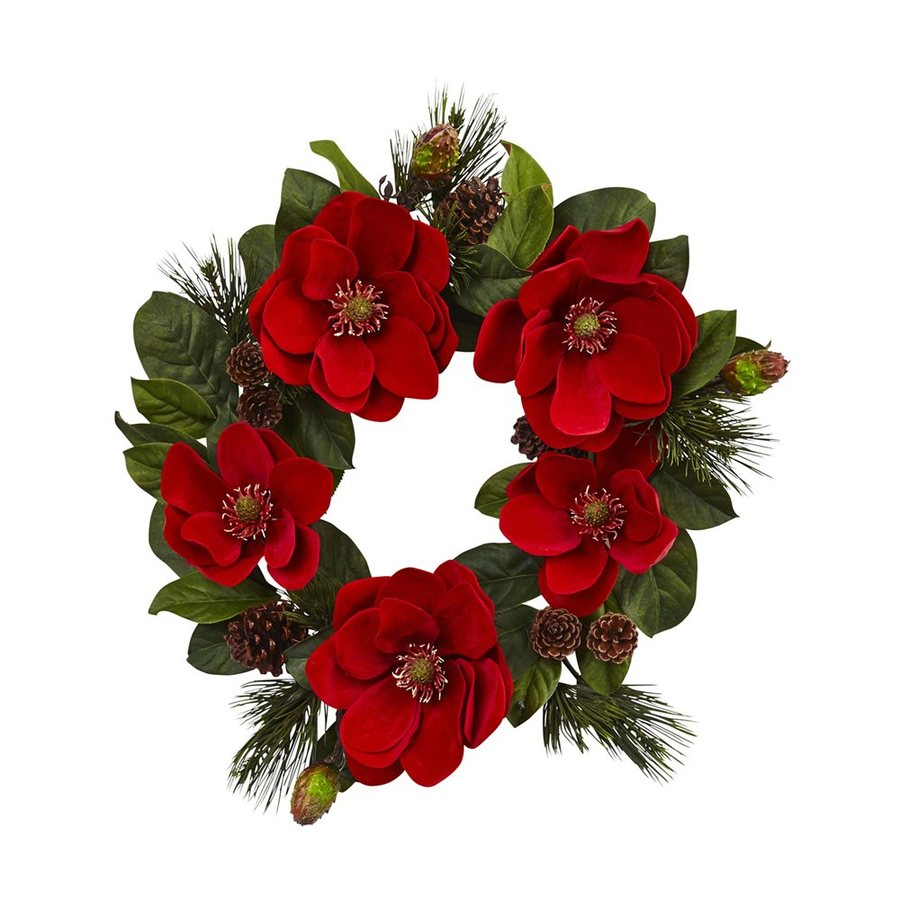 Nearly Natural 24-in Indoor Red Magnolia Artificial Christmas Wreath