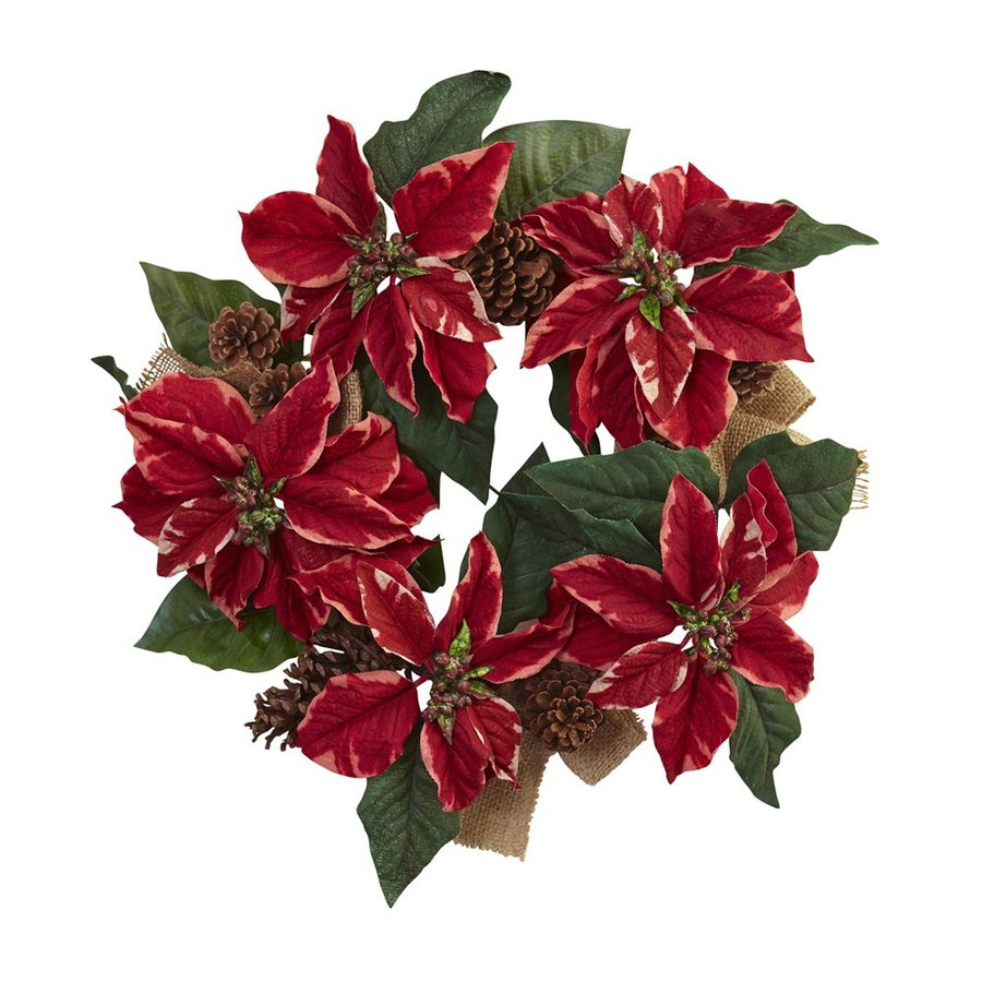 Nearly Natural 22-in Indoor Red Poinsettia Artificial Christmas Wreath