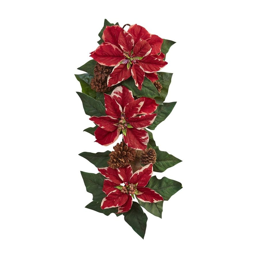 Nearly Natural Indoor 2.08-ft L Poinsettia Garland