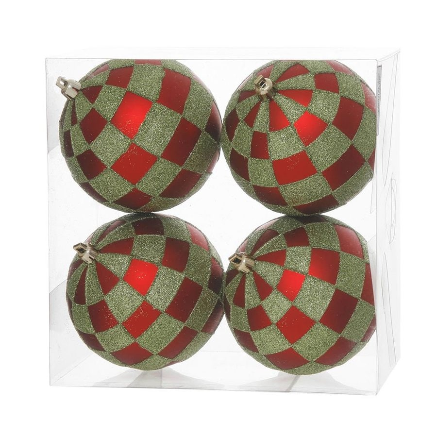 Vickerman 4-Pack Red/Lime Ball Ornament Set