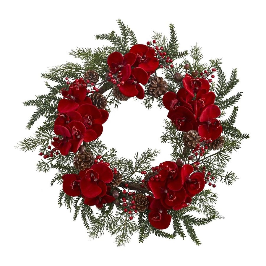 Nearly Natural 22-in Indoor Red Orchid Artificial Christmas Wreath