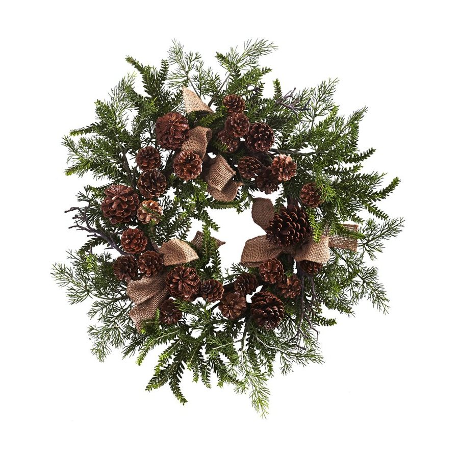 Nearly Natural 24-in Indoor Brown/Green Pinecone Artificial Christmas Wreath with Burlap Bows