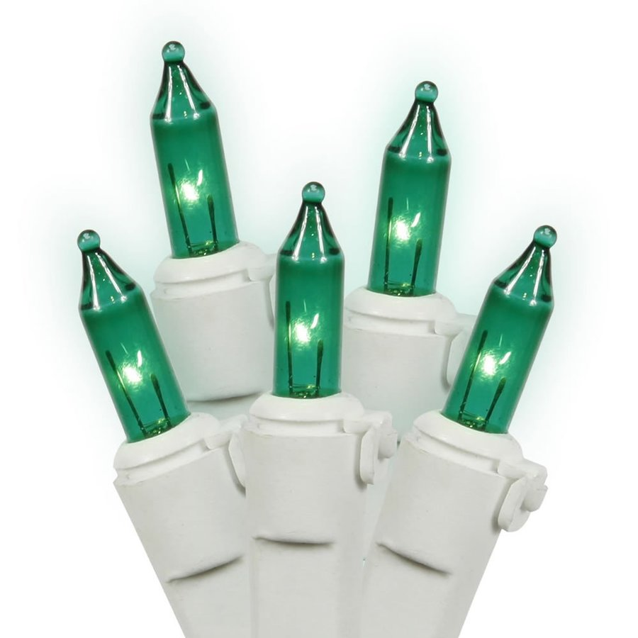 Shop Vickerman 50-Count Constant Green Mini Incandescent Plug-In Indoor Christmas String Lights ...