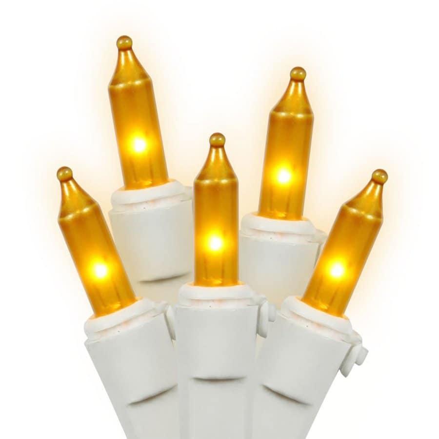 Vickerman 50-Count Constant  Gold Mini Incandescent Plug-In Indoor Christmas String Lights