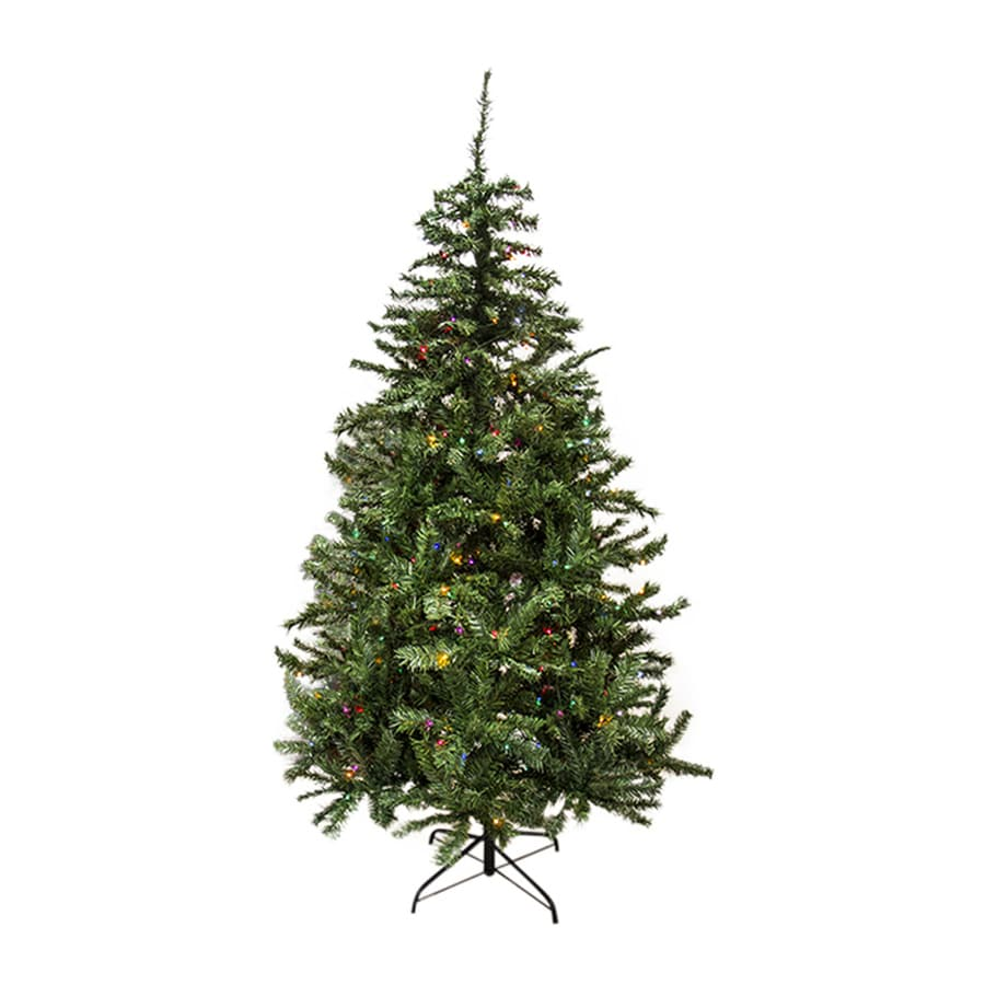 Northlight 7-ft 6-in Pre-lit Mixed Needle Slim Artificial Christmas Tree with 500 Multicolor Incandescent Lights